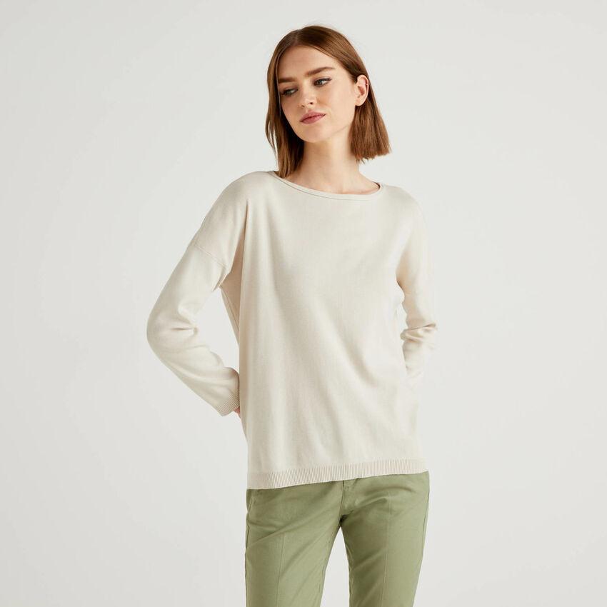 Jersey de algodón con escote redondo