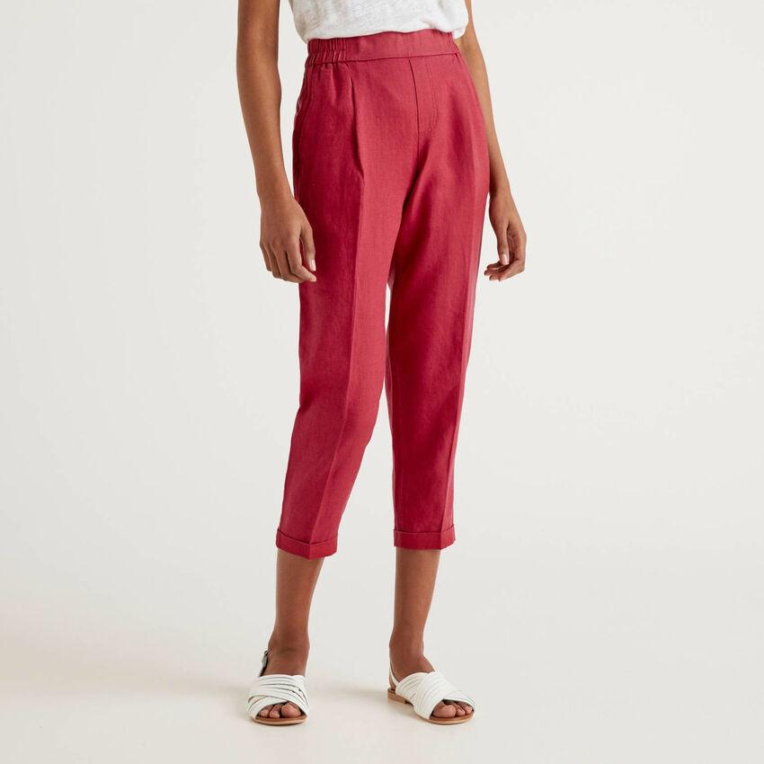 Pantalón cropped de 100% lino