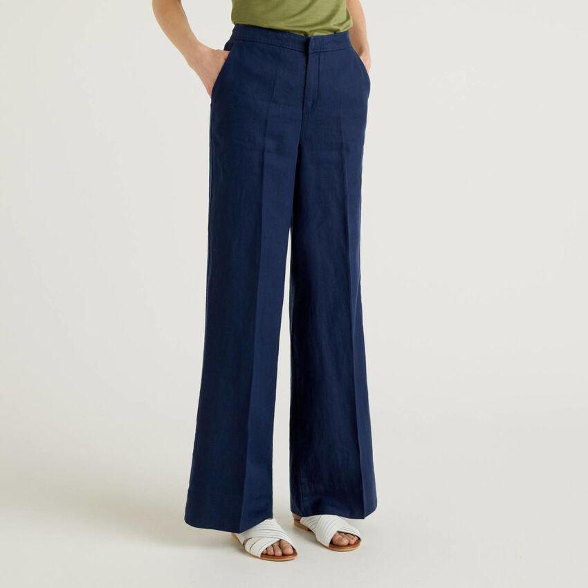Pantalón palazzo de 100% lino