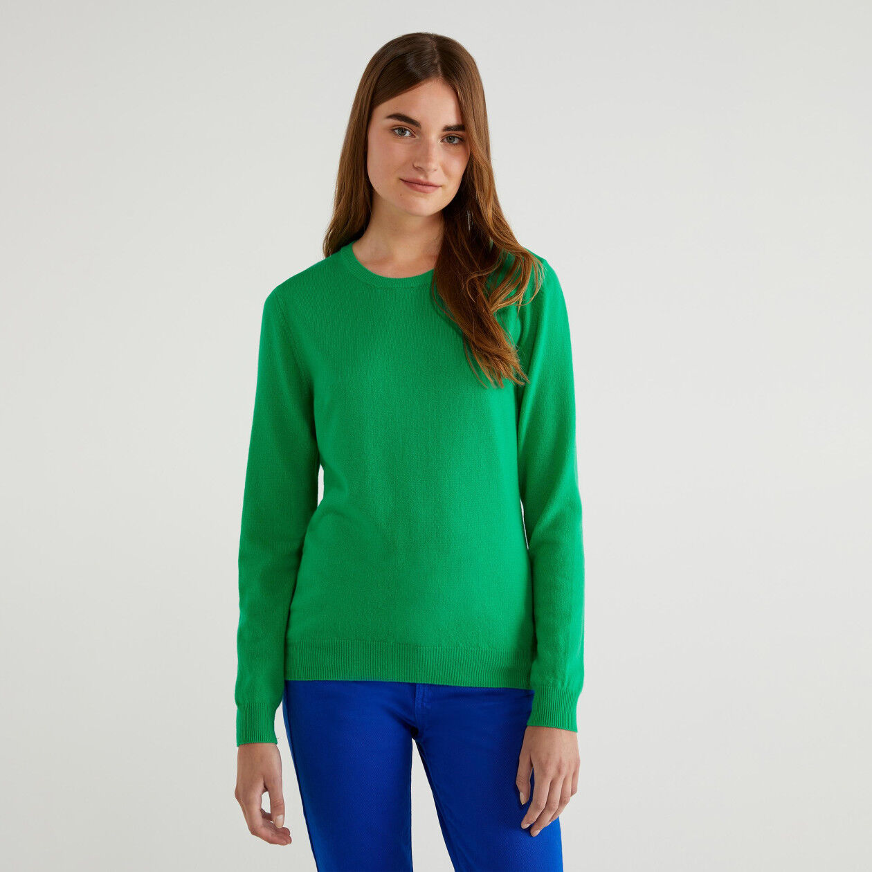 100% virgin wool crew neck sweater