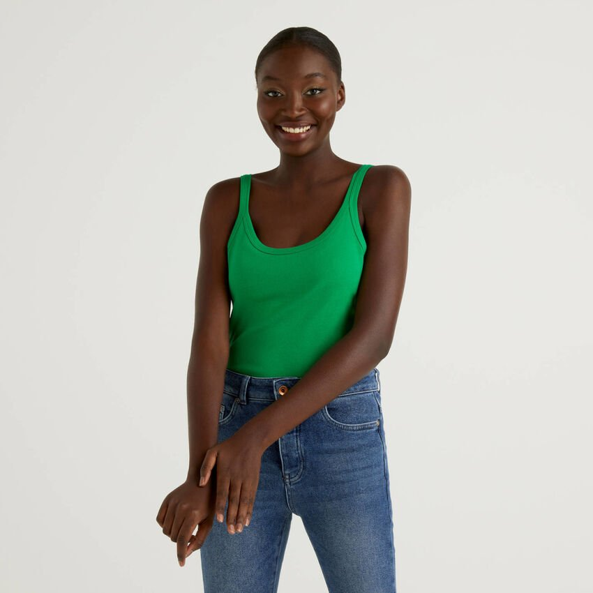 Green tank top in pure cotton