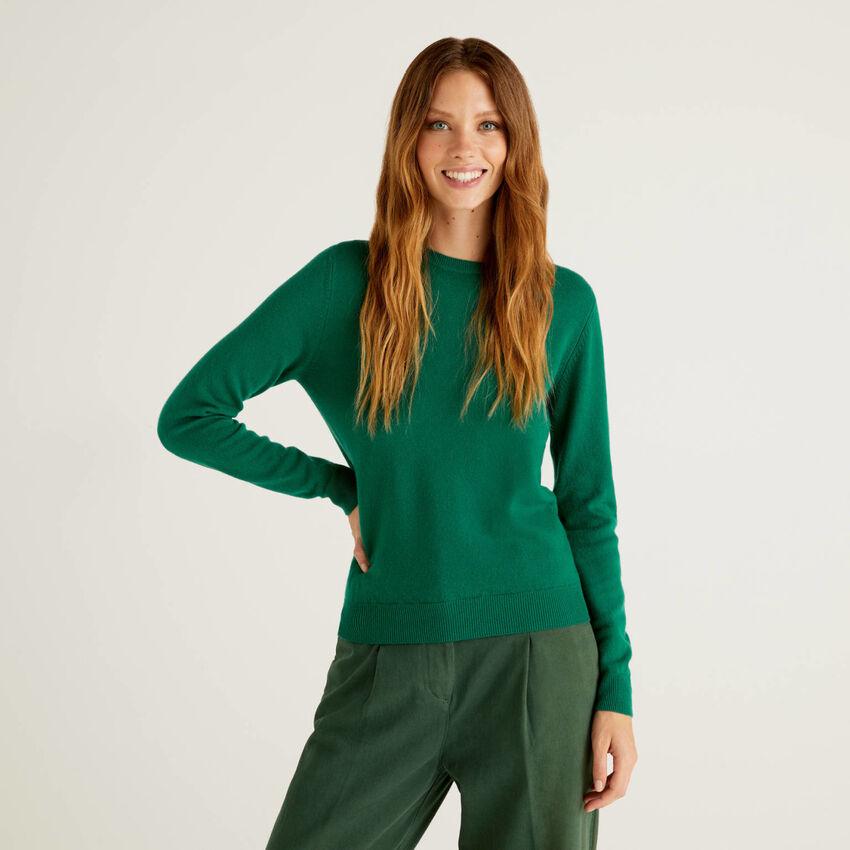 Jersey de cuello redondo verde oscuro de pura lana virgen