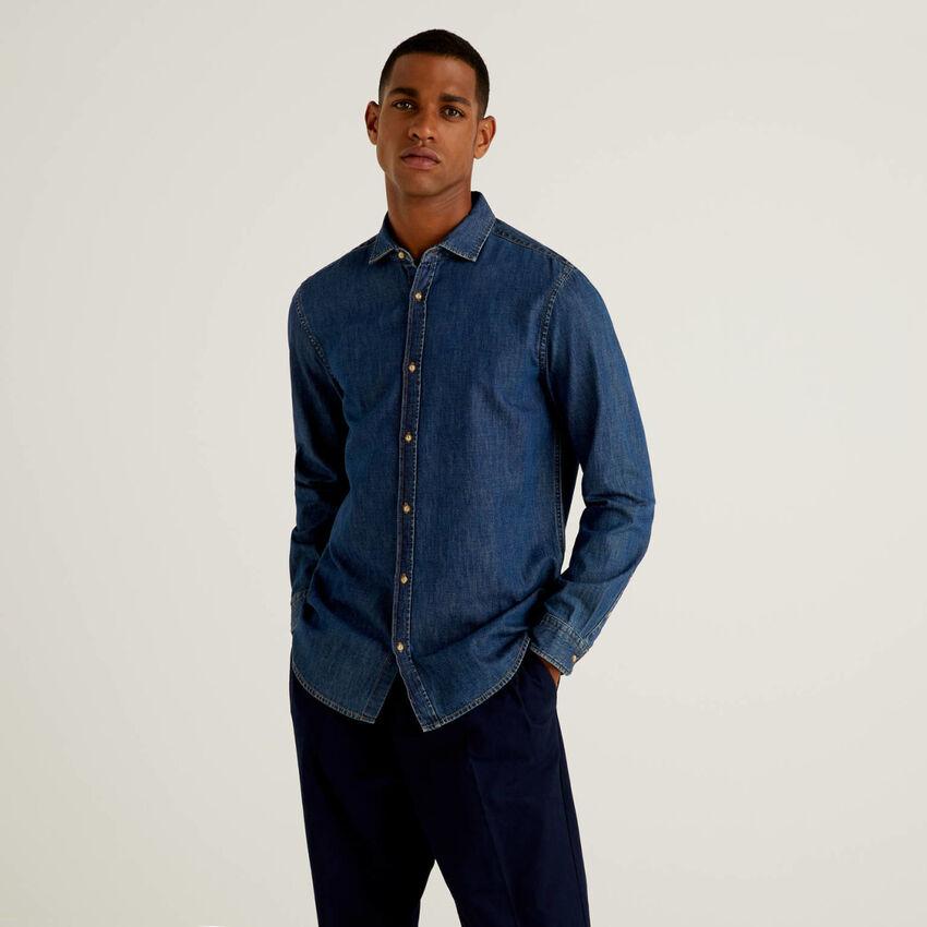 Camisa vaquera ceñida de 100 % algodón
