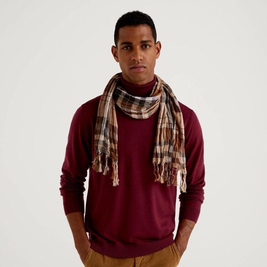 100% cotton check scarf