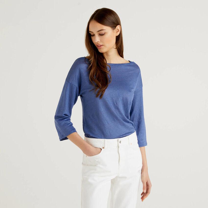 Camiseta de 100% lino con manga francesa