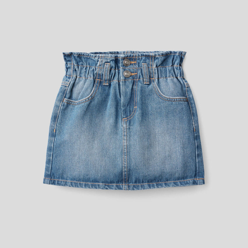 Denim skirt with ruffled waist