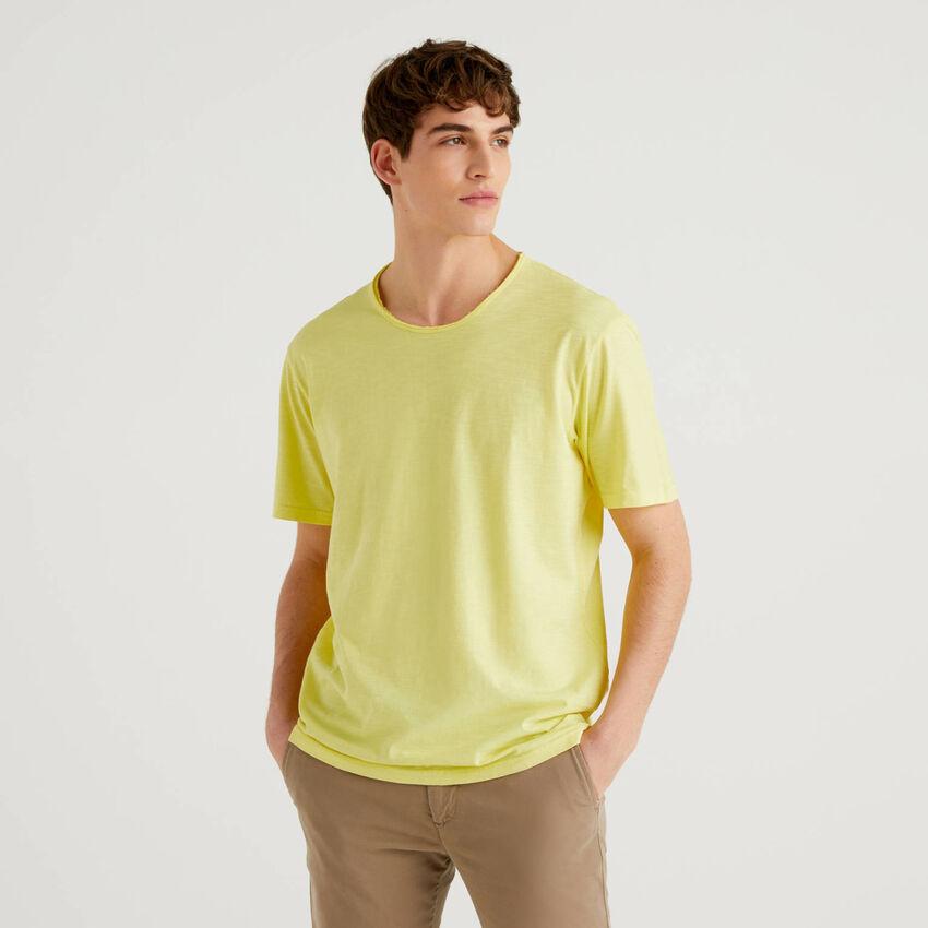 Camiseta amarilla de 100% algodón