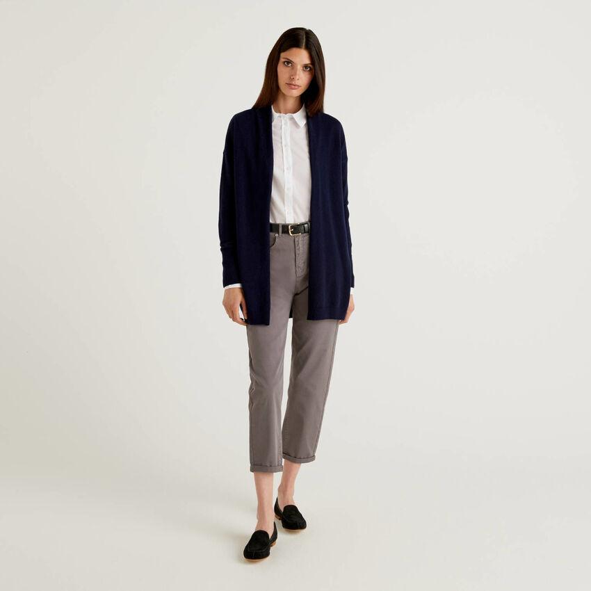 Long cardigan with shawl collar