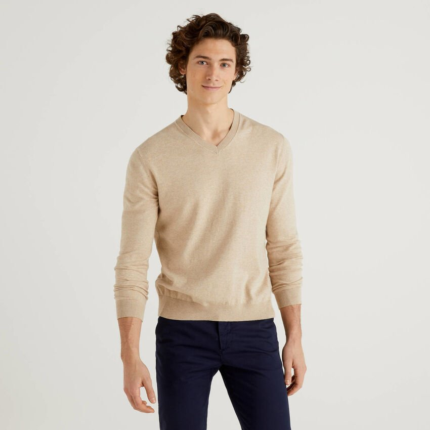 V-neck sweater in cotton blend