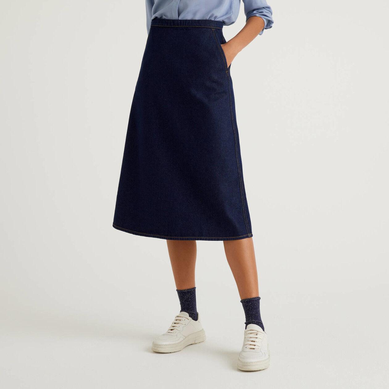 Midi skirt in 100% cotton denim