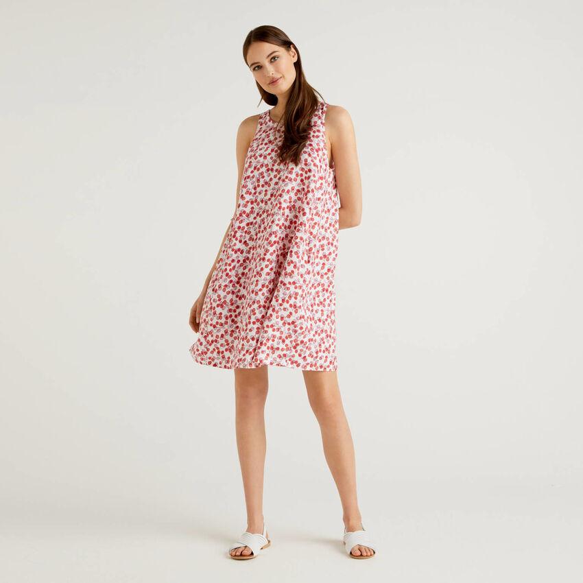 Vestido de 100% lino con estampado