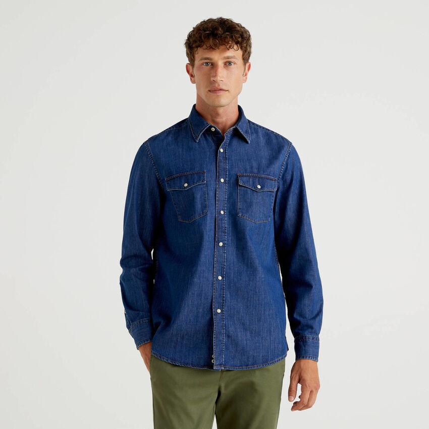 Camisa vaquera de algodón puro