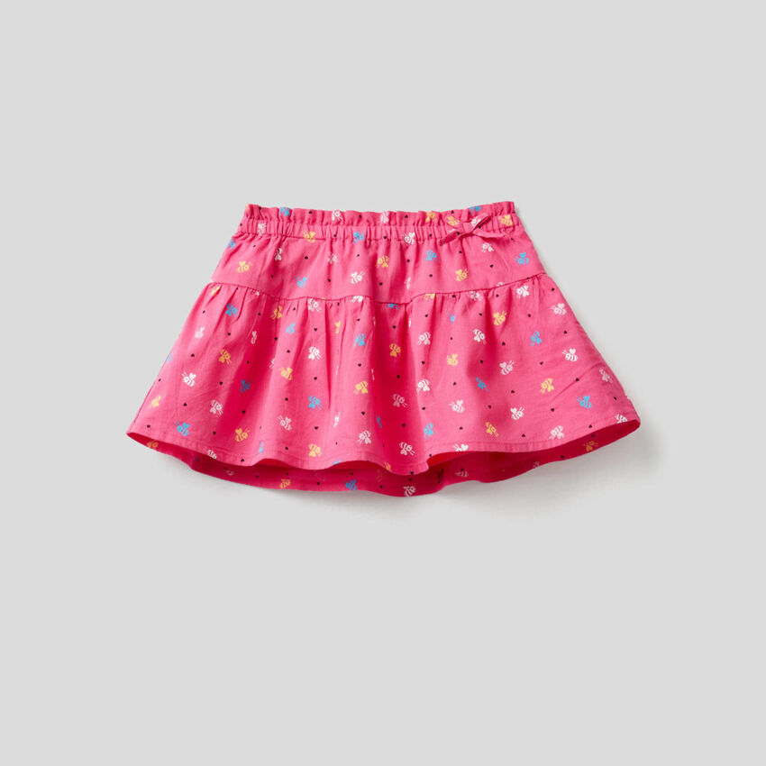 Printed skirt in 100% cotton