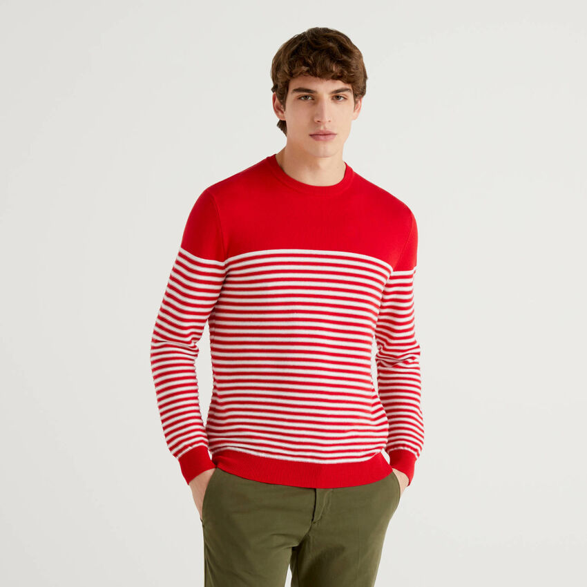 Striped 100% cotton crew neck sweater