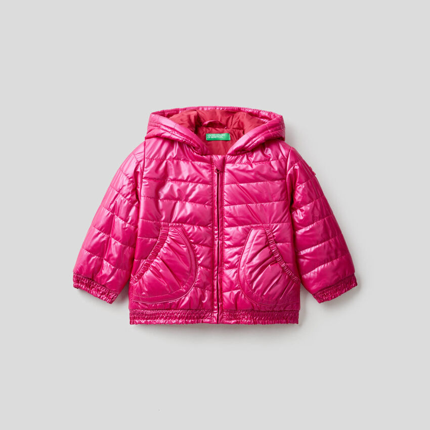 Padded jacket with rouches