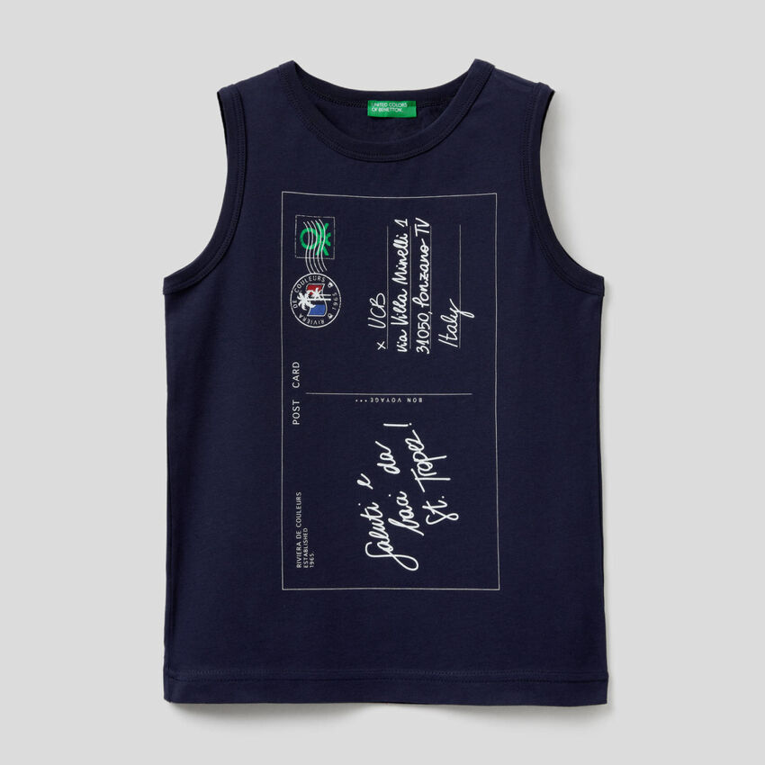 Tank top with postcard print