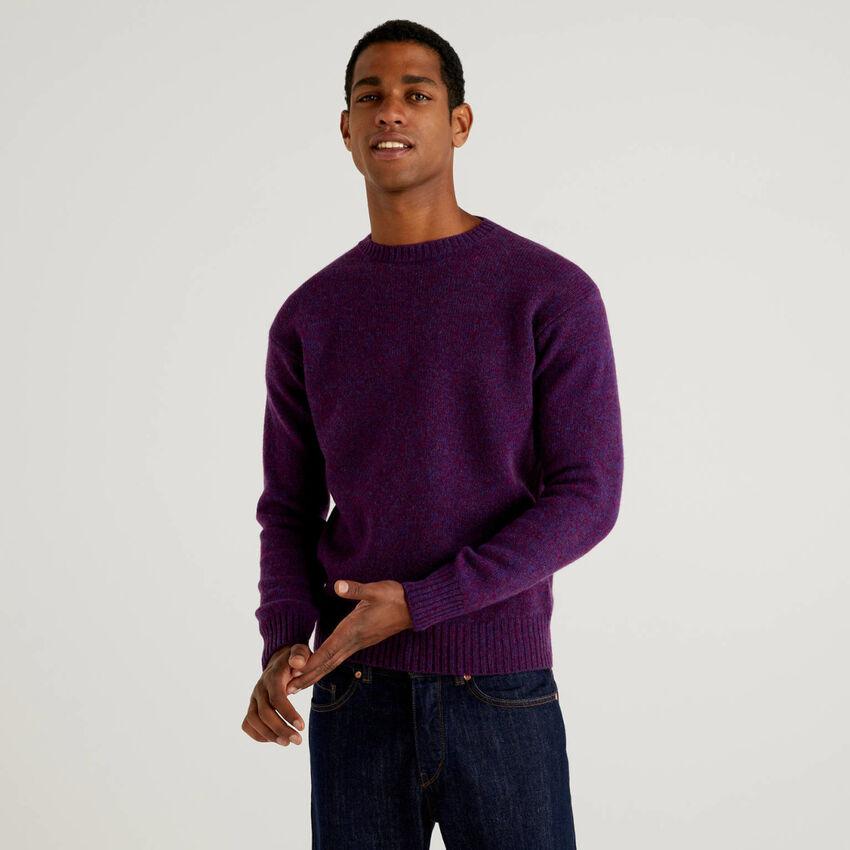 Crew neck sweater in pure Shetland wool