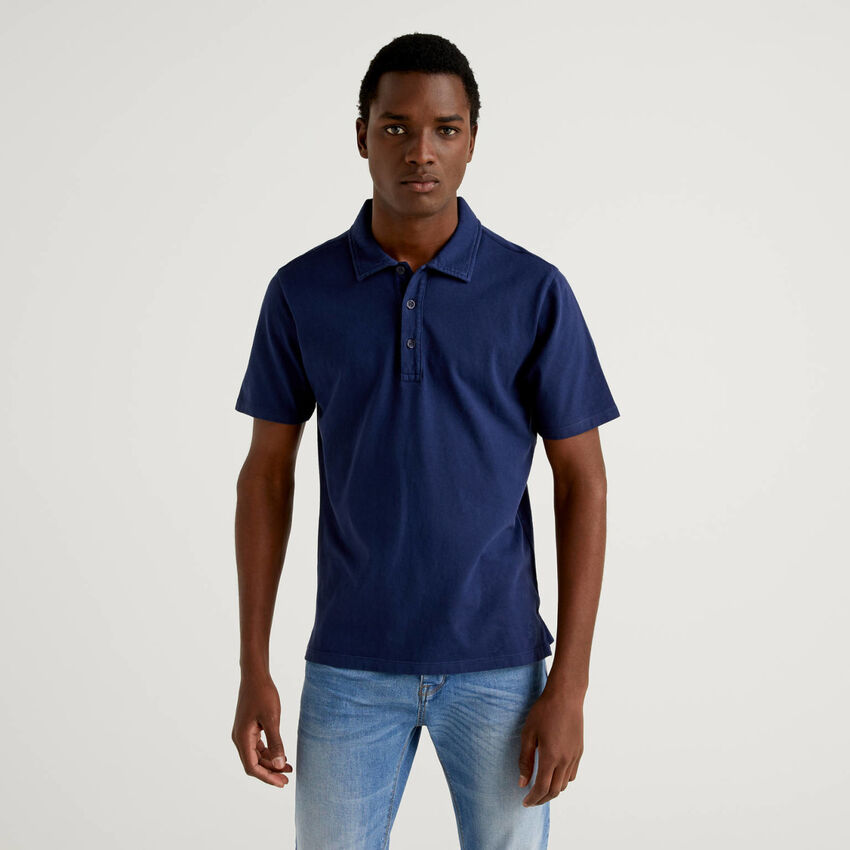 Yarn dyed polo in pure cotton