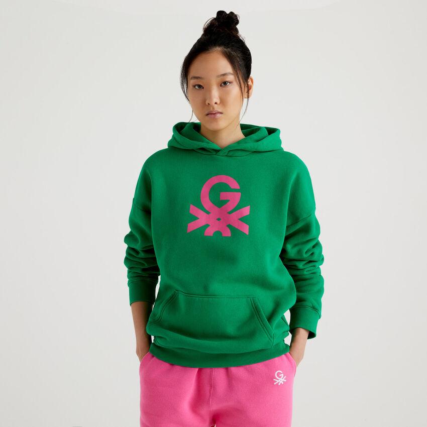 Sudadera unisex verde by Ghali con capucha