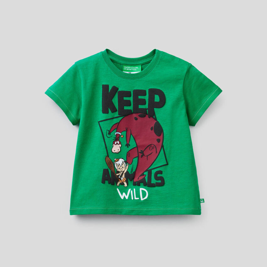 Green t-shirt with Flintstones print