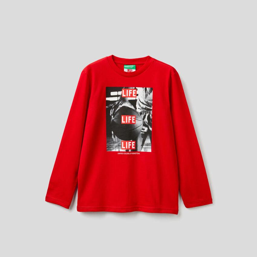 "Camiseta ""Life"" de manga larga en algodón 100% orgánico"
