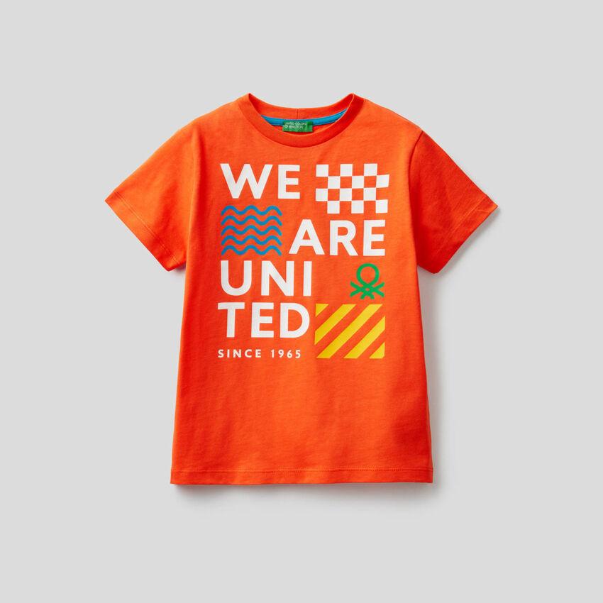 Camiseta de algodón con eslogan