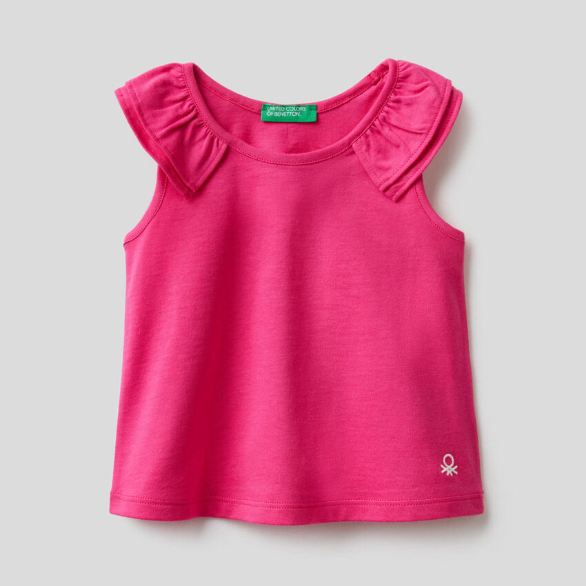 Top in organic cotton with rouches