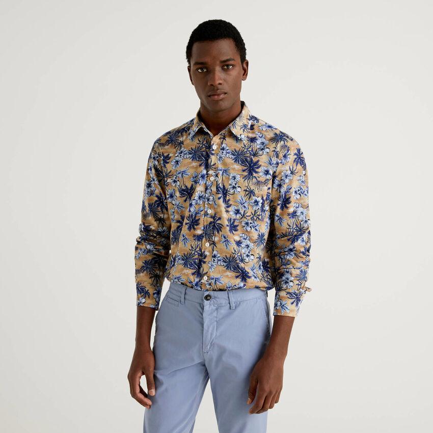 100% cotton shirt with botanical print