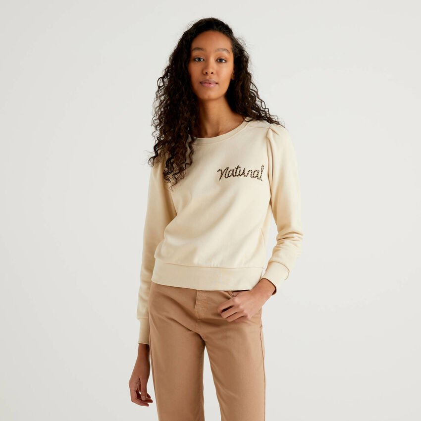 Sweatshirt in organic cotton with embroidery