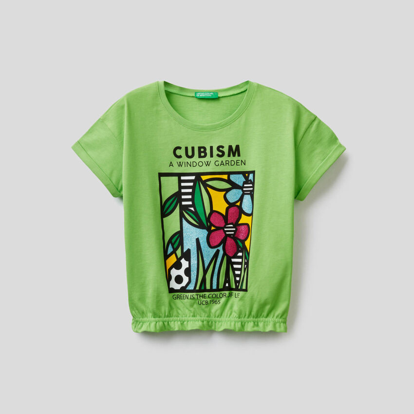 Printed t-shirt with stretch bottom