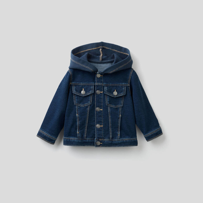 Denim look sweat jacket