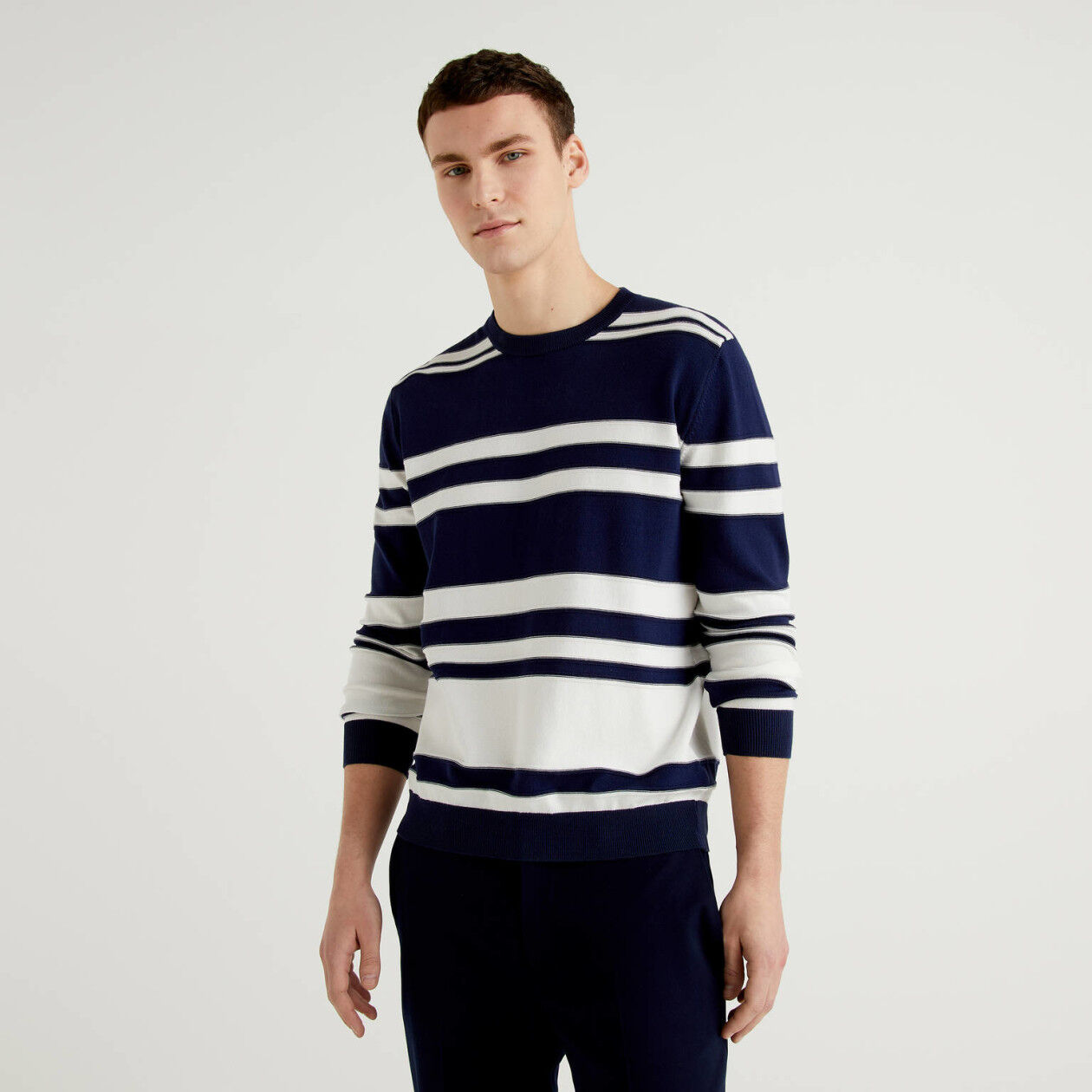 Striped sweater in pure cotton