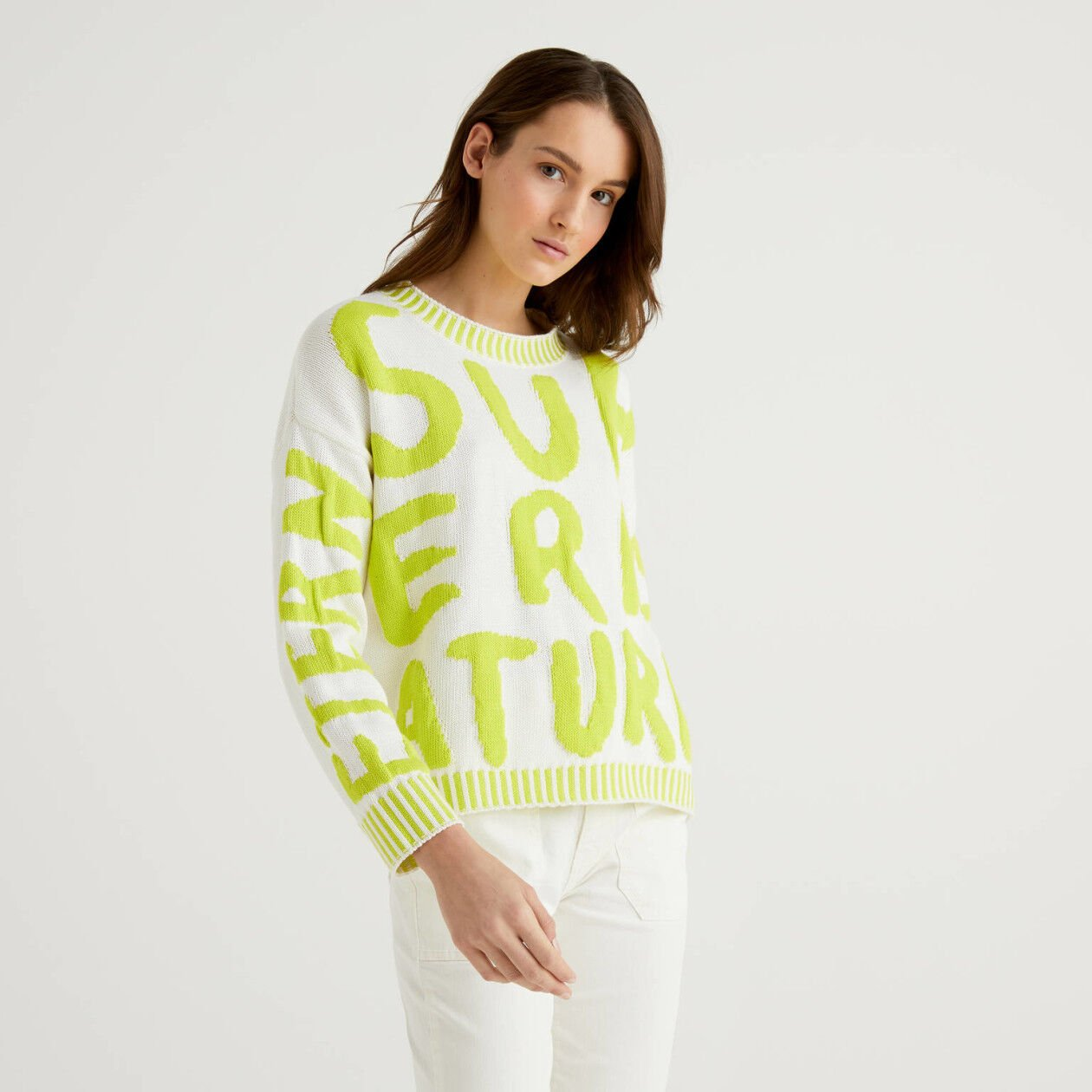 Cotton sweater with inlay motif