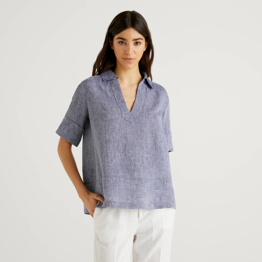 Short sleeve blouse in pure linen